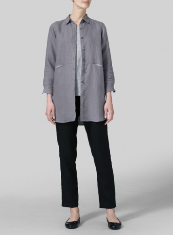 Gray Heavy Linen Contrast Collar Shirt Jacket Set