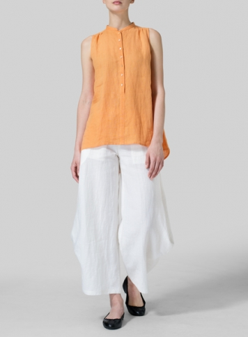 Orange Linen Mandarin Collar A-Line Sleeveless Shirt