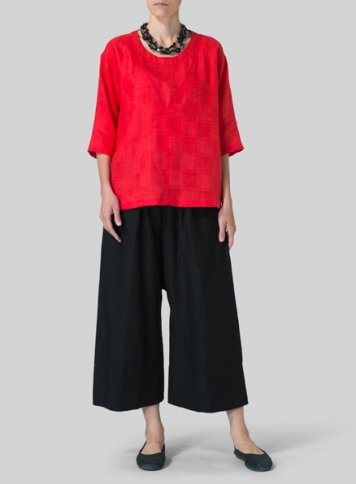 Red Linen Three-Quarter Sleeve Top