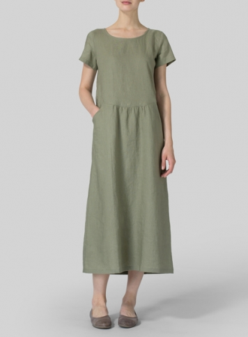 Olive Linen Short Sleeve Dress