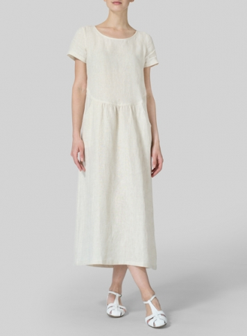 Sand Linen Short Sleeve Dress