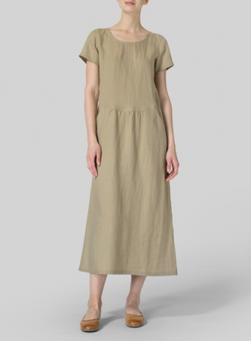 Khaki Sand Linen Short Sleeve Dress