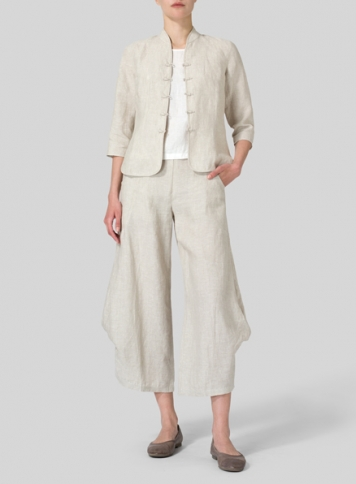 Oat Linen Three Quarter Chinese Blouse