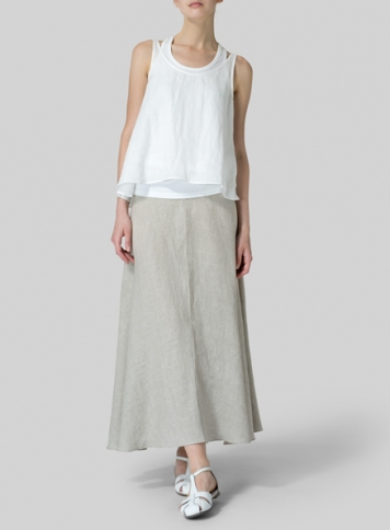 White Linen Low Back Tank with Flowing Skirt
