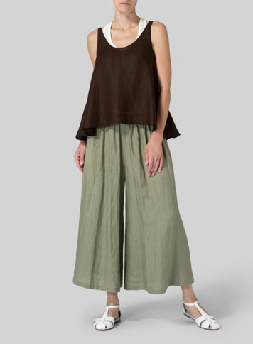 Sepia Linen Low Back Tank Set
