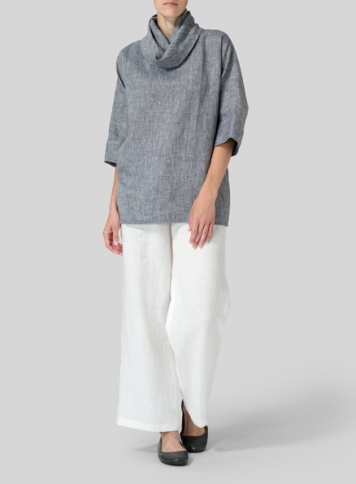 Two Tone Navy White Linen Cowl Neck Top