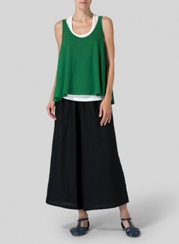 Green Linen Knit Sleeveless Top