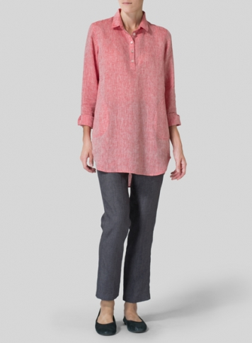 Red Linen Classic Collar Half Button Down Tunic