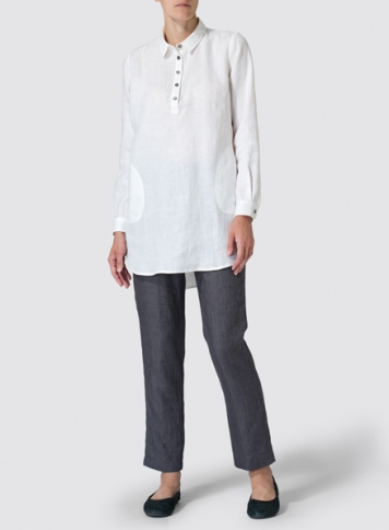 White Linen Classic Collar Half Button Down Tunic