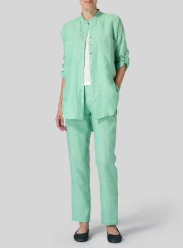 Two Tone Green Linen Mandarin Collar Blouse Set