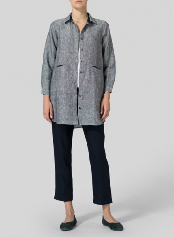 Two Tone Navy Heavy Linen Contrast Collar Shirt Jacket