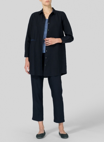 Navy Blue Heavy Linen Contrast Collar Shirt Jacket