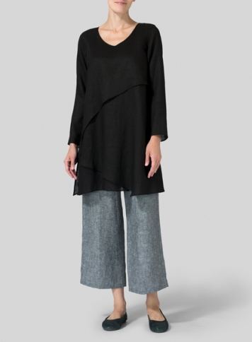 Black Linen Layering V-neck Tunic