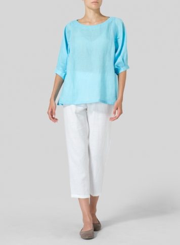Sky Blue Linen Pleated Sleeve Top