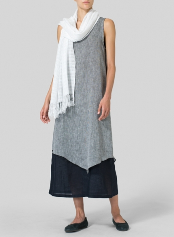 Linen Double Layered Long Dress with Scarf