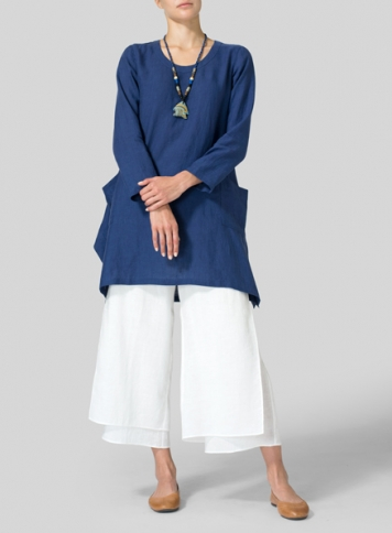 Blue Linen Long Sleeve Top Set