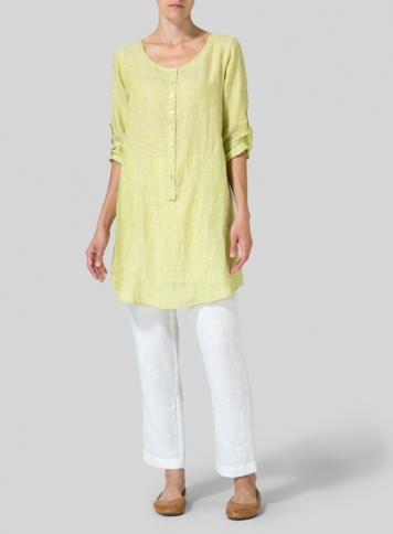 Lime Linen Half Button Long Top