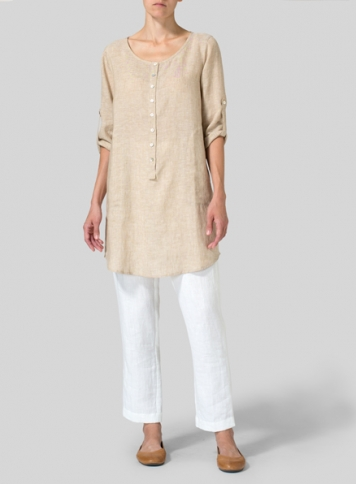 Beige Linen Half Button Long Top