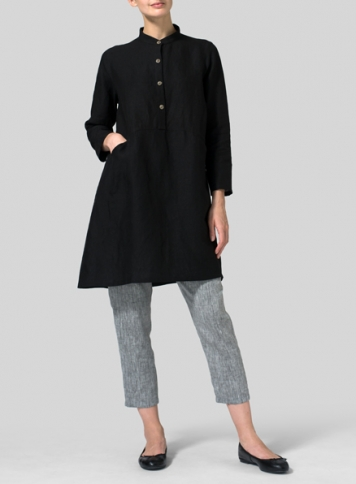 Black Linen Long Sleeve A-Line Tunic
