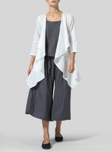 Linen Low Rise Wide Leg Pants Set