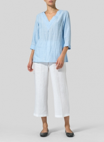 Light Blue Linen V-neckline Pleated Top