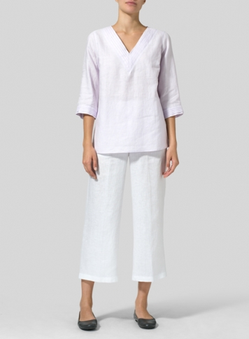 Pale Purple Linen V-neckline Pleated Top