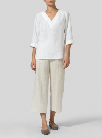 White Linen V-neckline Pleated Top