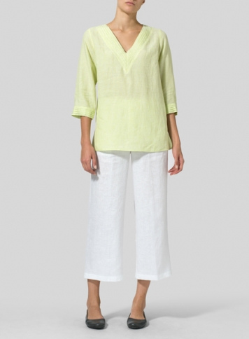 Lime Linen V-neckline Pleated Top