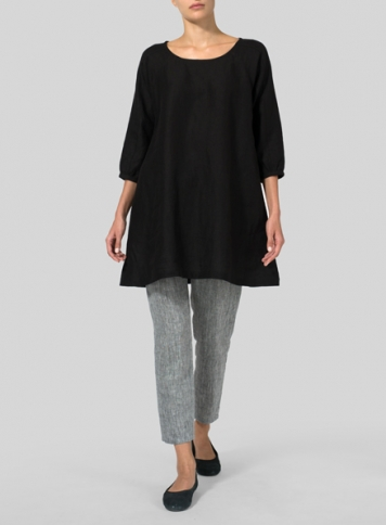 Black Linen Elbow Sleeve Tunic