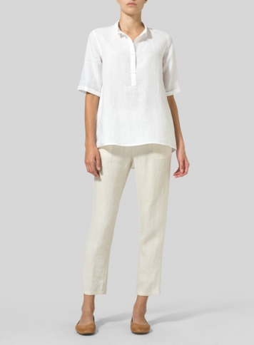 White Linen Shirt Collar Blouse