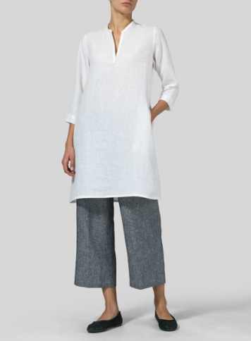 White Linen V-neck Mandarin Collar Tunic