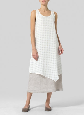 White Plaid Linen Double Layered Long Dress