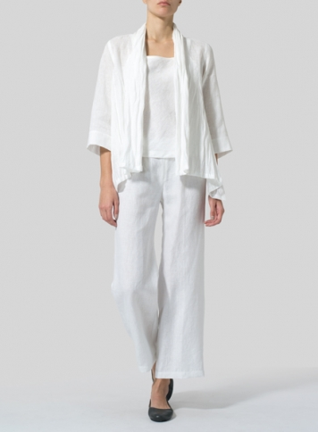 White Linen Shawl Collar Jacket