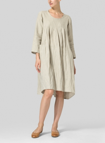 Oat Linen High-Low Babydoll Dress