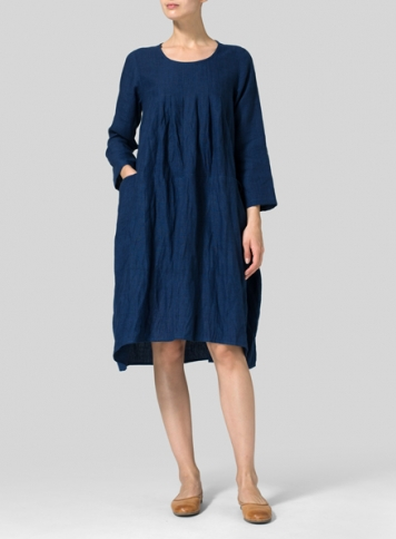 Denim Blue Linen High-Low Babydoll Dress