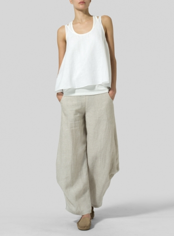 White Linen Low Back Tank with Flared Leg Pants