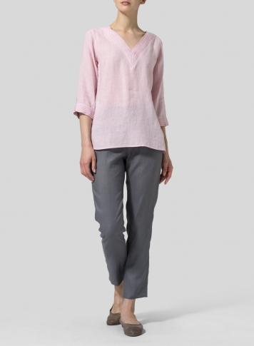 Pink Linen V-neckline Pleated Top