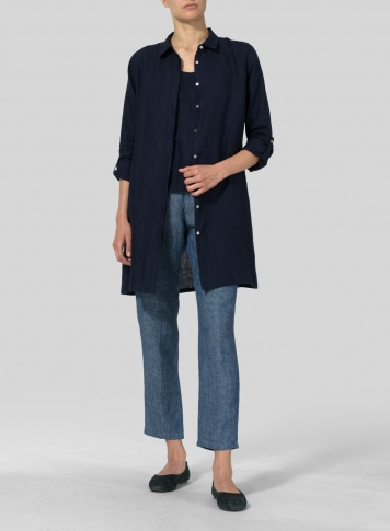 Navy Linen Rolled Sleeve Long Top