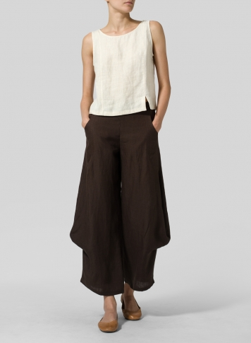 Brown Linen Flared Leg Pants