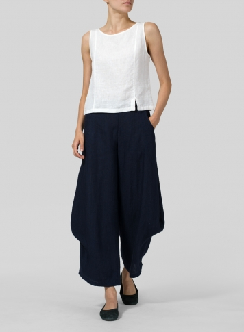 Black Linen Flared Leg Pants