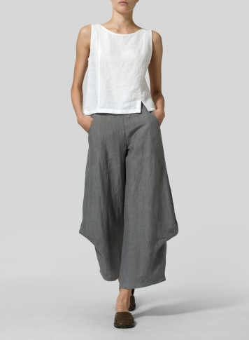 Soft Gray Linen Flared Leg Pants
