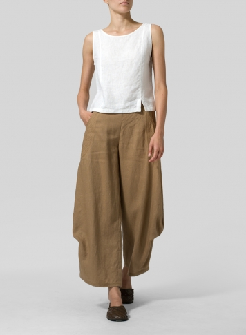Clay Brown Linen Flared Leg Pants