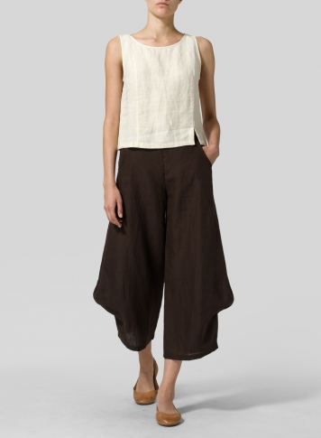 Brown Linen Flared Leg Crop Pants