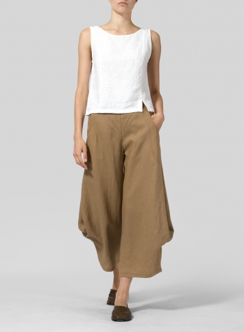Clay Brown Linen Flared Leg Crop Pants Set