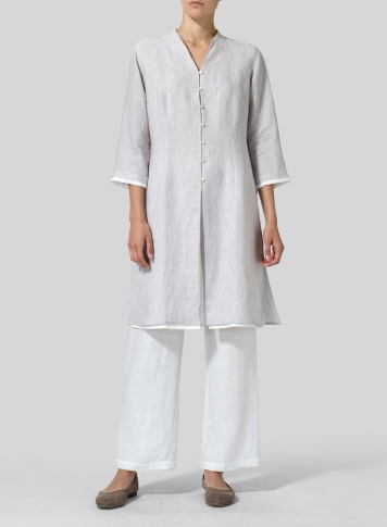 GainsboroGray Linen Double Layers Long Top