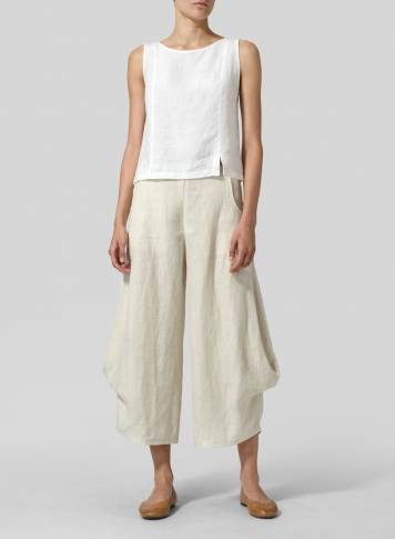 Sand Linen Flared Leg Crop Pants