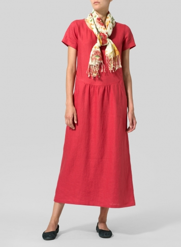 Apple Red Linen Short Sleeve Dress