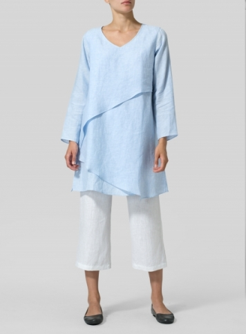 Linen Layering V-neck Tunic Set