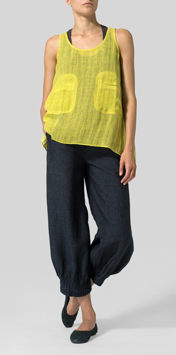 Yellow Gray Linen Double Pocketed Tank