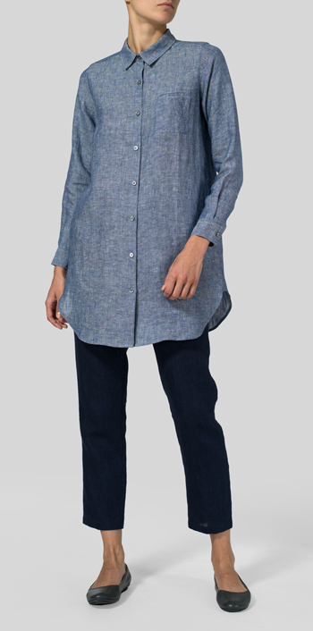Two Tone Denim Linen L/S Solid Basic Button Front Long Blouse